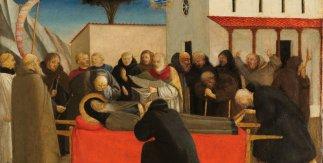 Funeral de San Antonio Abad. Fra Angelico. 1426 - 1430. Temple sobre tabla de madera de chopo, 19,7 x 29,3 cm.