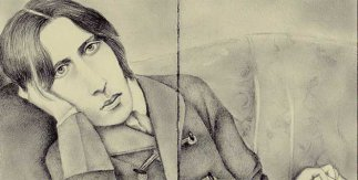 Oscar Wilde (Guillermo Martín Bermejo, 2019). Lápiz negro sobre papel de libro antiguo