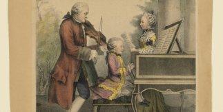 Lois de Carmontelle (1717-1806), Leopold Mozart, Maria Anna Mozart y Wolfgang Amadeus Mozart, 1764. Litografía coloreada a mano. V&A: S.2928-2009. © Victoria and Albert Museum, Londres