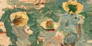 Joaquín, María y Elena Sorolla García. 1897. Óleo sobre tabla. 7,5 x 12 cm. Nº inv. 422