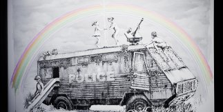 Police Riot Van -Banksy