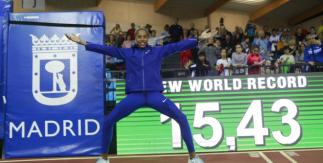 Yulimar Rojas, plusmarca mundial triple salto en pista cubierta en la reunión de Madrid. 21 febrero 2020