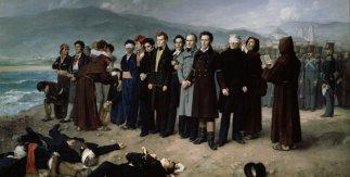 Fusilamiento de Torrijos y sus compañeros en las playas de Málaga. Antonio Gisbert Pérez. 1888-1887. 390 cm × 601 cm. Óleo sobre lienzo