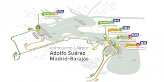 Plano de ubicación de las paradas en el aeropuerto del Autobús exprés al Aeropuerto Madrid Barajas