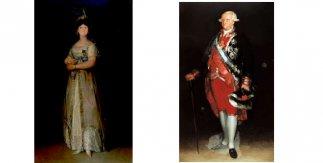 María Luisa en traje de corte / Carlos IV con uniforme de coronel de los Guardias de Corps. Cuadros de Francisco de Goya en el Palacio Real