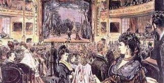Inauguración del Teatro Apolo en la noche del 23 de noviembre de 1873. Según dibujo José Luis Pellicer y grabado de Tomás Carlos Capuz en La Ilustración Española y Americana
